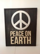 "POTTERY BARN PEACE ON EARTH SIGN HOLIDAY WALL ART 30""X36""X2"" SOLD OUT AT PB RARE"