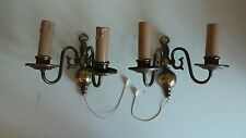 Vintage Old Pair of Gold Metal Double Wall Sconces Lamps Light Fittings Home Dec