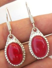 BEAUTIFUL JEWELRY RED AGATE! GEMSTONE 925 STERLING SILVER PLATED EARRING