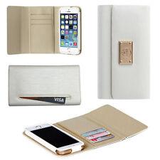 Handy Tasche für Apple iPhone SE/5/5s Schutz Hülle Flip Case Cover Etui weiß