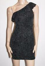 Avirate Brand Black Silver Embroidered One Shoulder Dress Size 8-XS BNWT #TC24