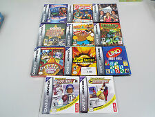 LOT OF 11 GAMES FOR GAME BOY ADVANCE NINTENDO - BOXED - FUNNY GAMES - T20J800
