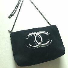 Auth CHANEL VIP Large CC Makeup Black Cross Body Clutch Shoulder Chain Bag