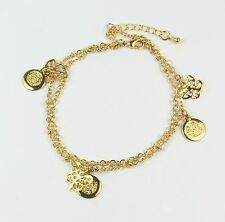 Women's 24 Carat Gold plated chain link butterfly and coins bracelet Jewellery