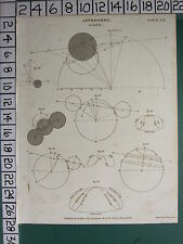 1809 DATED ANTIQUE PRINT ~ ASTRONOMY ~ ECLIPSE VARIOUS DIAGRAMS SUN RISE & SET