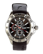 Nautica N14609G Men's Yachting Collection Multifunction Black Rubber Strap Watch