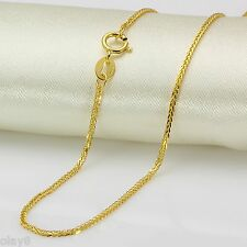 """Fine New """"Au750 Pure18K Yellow Gold Necklace Women's Wheat Link Chain 19.6inch"""