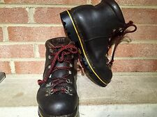 Vintage Raichle Hiking Brown Leather Boots 9.5  M Made in Switzerland