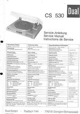 Dual Original Service Manual für Phono CS 530