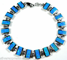 Blue Fire Opal Inlay Solid 925 Sterling Silver Link Tennis Bracelet 7'' Long