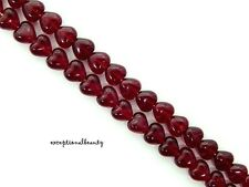 50 Garnet Red Preciosa Czech Pressed Bohemian Glass 6mm Puffed Heart Beads