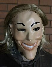Deluxe The Purge Mask With Wig Halloween Fancy Dress Costume 1, 2, 3 Mens Hair