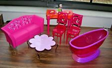 Lot of 11 Mattel Barbie & Other Doll House Furniture Bratz, Disney H. Montana