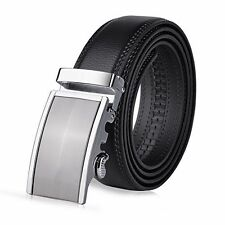 "Vbiger Men's Leather Belt Sliding Buckle 35mm Ratchet Belt Black (42"" to 52"" ..."