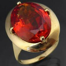 Large Intensely ORANGE Vintage 9ct GOLD SAPPHIRE COCKTAIL RING solid yellow Sz O