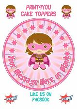 ND1 Supergirl Super hero girl personalised round cake topper icing