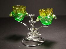 Metal flower shaped tea light holder / stand with glass , silver color #5