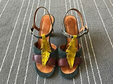 Chie Mihara Snakeskin Feather suede T-strap Sandals shoes sz 37/ 7