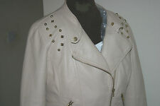 LIGHT BEIGE PU Faux Leather Cuir BIKER JACKET uk16 us12 eu44 Chest c42in c107cm