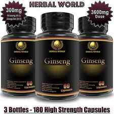 Korean Ginseng Panax Adaptogens Saponins 3600mg energy boost pills 180 Capsules