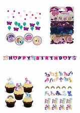 Mi Pequeño Pony Fiesta Pack, Confeti, Banner, 30 Comestible Oblea Stand Up Cake Toppers