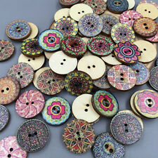 50 Shabby Chic Vintage 25mm Round Wooden Buttons - Scrapbooking - Crafting UK
