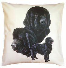 Newfoundland Group Breed of Dog Themed Cotton Cushion Cover - Perfect Gift