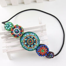 Boho Handmade Multicolor Beaded Round Shape Stretch Elastic Headband Hair Band