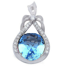 7 COLORS Beautiful Simulated Gemstone Cz .925 Sterling Silver Pendant Necklace