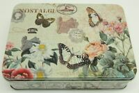 """Vintage Style """"Butterfly"""" Kitchen Lunch Food Storage Tin Tea Box Pencil Cookie"""