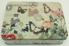 "Vintage Style ""Butterfly"" Kitchen Lunch Food Storage Tin Tea Box Pencil Cookie"