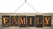 Family Sign with Faux Wood Grain Block Letters, Home, Welcome Sign PM529