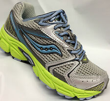 Saucony Girls Lace Sneakers  Light Grey/Blue/Lime   Youth Size 1 W