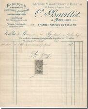 Facture - C-BARICLOT grande fabrique de sellerie à Moulins 1895 ?