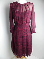 stunning WHISTLES dress Size 10 38 silk maroon lined 3/4 sleeve pleated