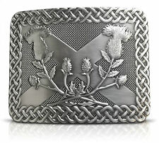 Saltire Thistle Brass Kilt Belt Buckle - New Exclusive Design