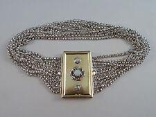schöne, alte Kropfkette - Perlen + Farbsteine - 11-reihig - aus 13-Loth Silber