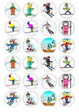 24 SKIING CUPCAKE TOPPER WAFER RICE EDIBLE FAIRY CAKE BUN TOPPERS