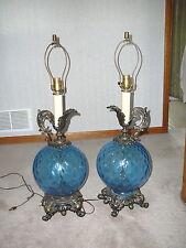 "VINTAGE 1960s BLUE DIAMOND GLOBE & GOLD CAST METAL EWER TABLE LAMP 31.5"" TALL"