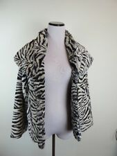 ALICE & OLIVIA BLACK WHITE ZEBRA ANIMAL PRINT FAUX FUR SHAWL JACKET TOP COAT M