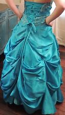 Turquoise Blue Beaded Taffeta Gown - Corset Laced Back Prom Dress - Quinceanera