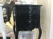 FRENCH PROVINCIAL BEDROOM FURNITURE PETITE BEDSIDE TABLE TABLES BLACK