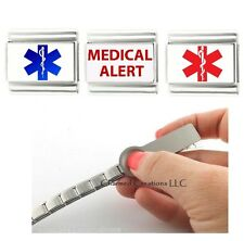 Medical Alert Red And Blue Star Of Life Caduceus 9mm Italian Charm ID Bracelet