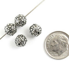 TierraCast Pewter Round Flower Beads-SILVER FLORAL (4)