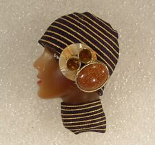 LADY HEAD FACE Porcelain-Look Resin pin brooch Ethnic Classic Flapper DIVA OOAK