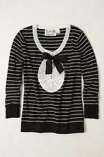 Anthropologie Keepsake Pullover MEDIUM Black White By Field Flower