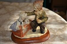 """Dog for Sale"" figurine with wood base ~ Boy, Dog and Puppies"