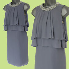 MONSOON Purple Pearl Embellished Neck Layers Cocktail Tunic Dress 8 EU 36 £109