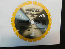 "1-DEWALT DW3178 CIRCULAR SAW BLADE7-1/4""24 CARBIDE TEETH  5/8"" ARBOR FRAMING NEW"