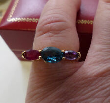 14K YELLOW GOLD 3 GEMSTONE RING SAPPHIRE AMETHYST & GARNET UNIQUE SIZE 6